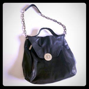 Kooba Black leather Hand bag w chain strap